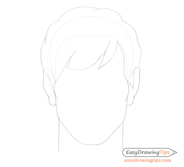 Male hair on head drawing
