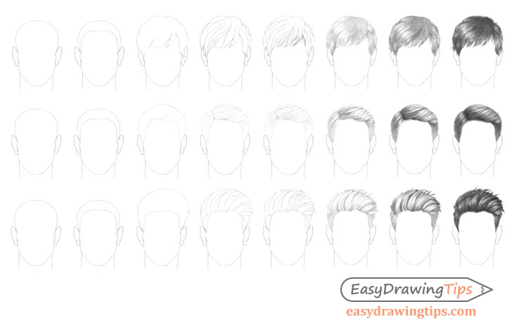 Male hair styles drawing step by step