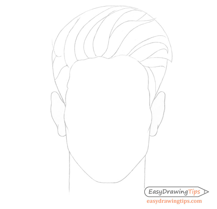 Spiky male hair details drawing
