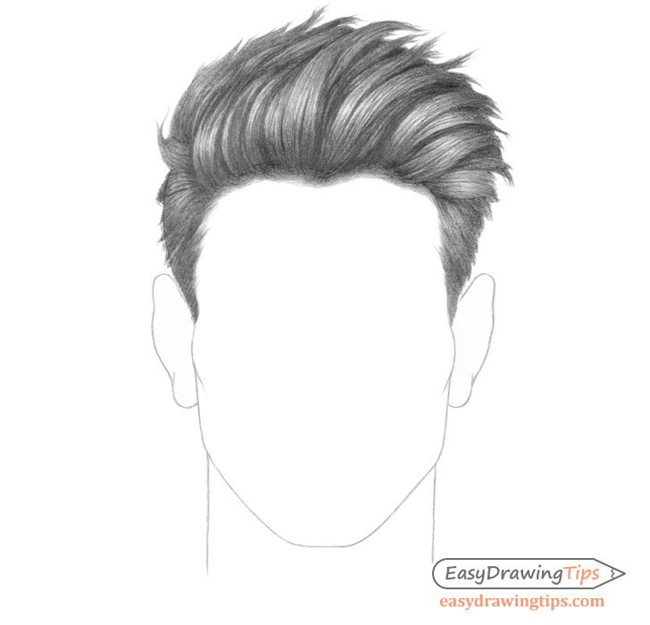Spiky male hair drawing