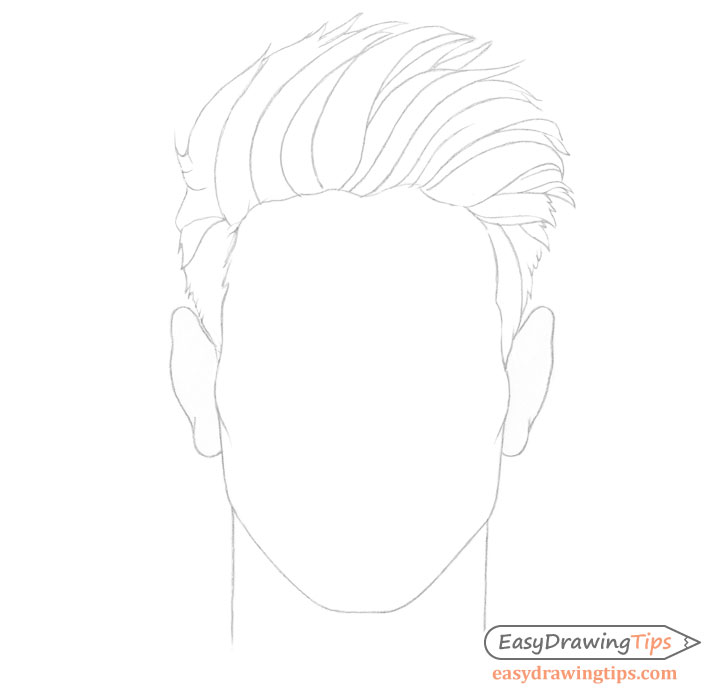 Spiky male hair line drawing