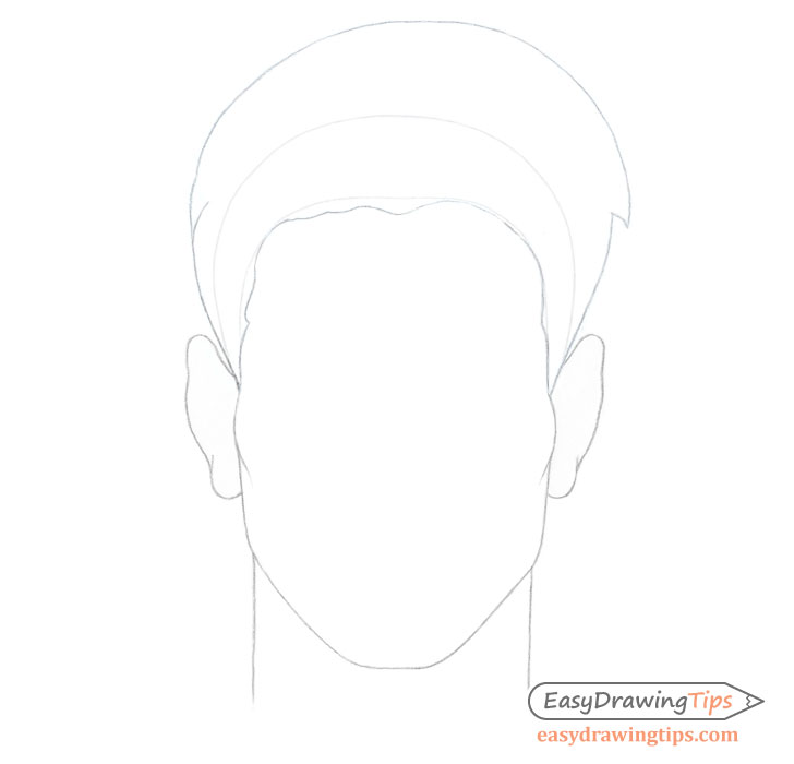 Spiky male hair on head drawing
