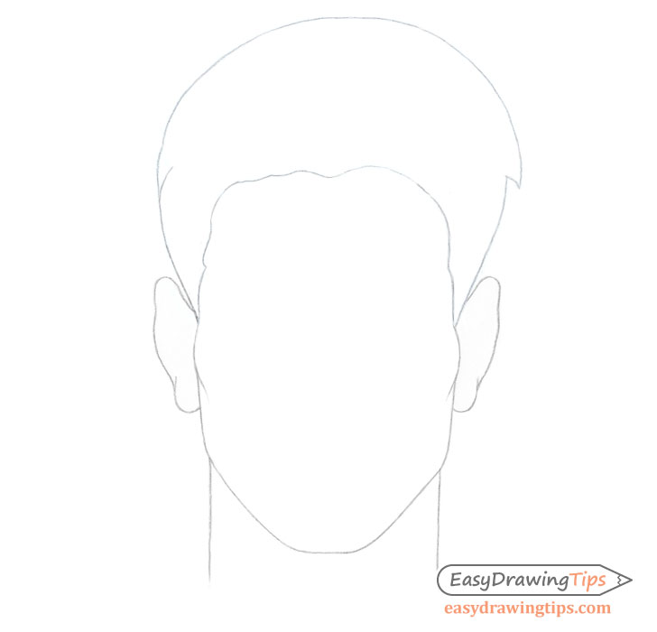 Spiky male hair outline drawing