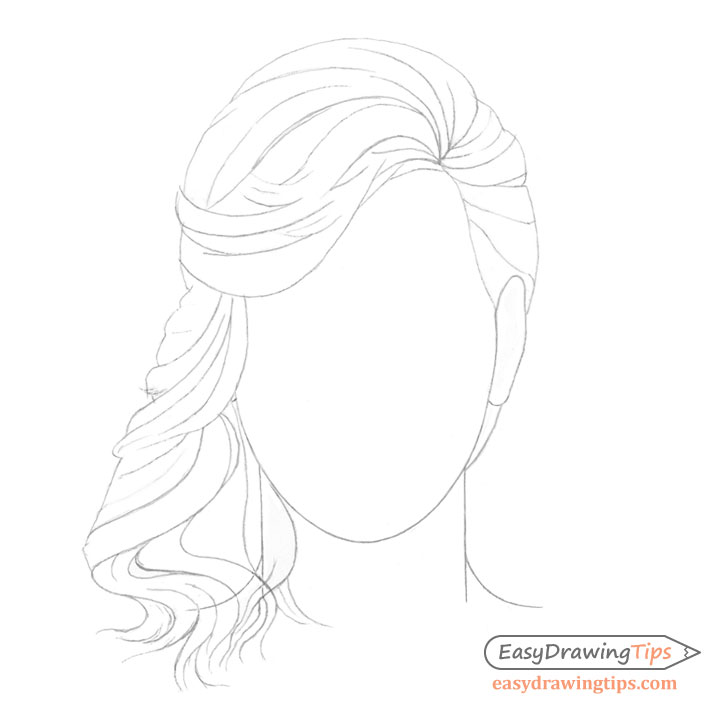 Curly hair details drawing