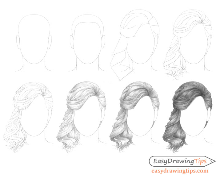 Curly hair drawing step by step