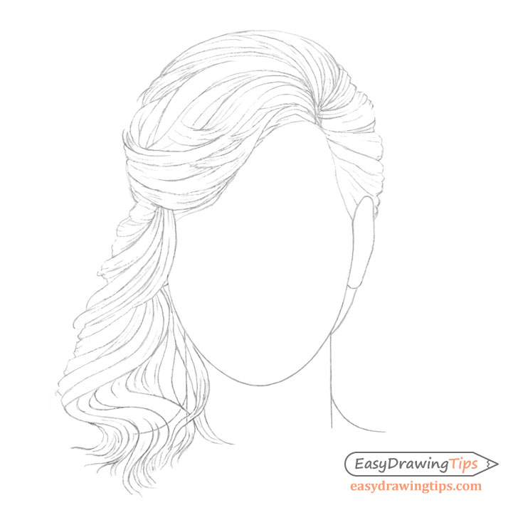 Curly hair line drawing