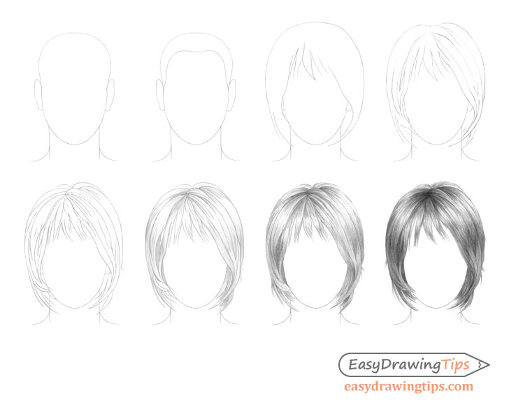 Hair drawing step by step