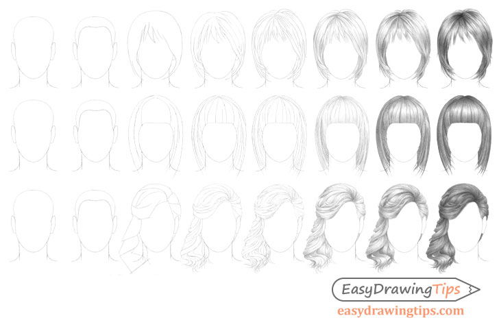 Hairstyles drawing step by step