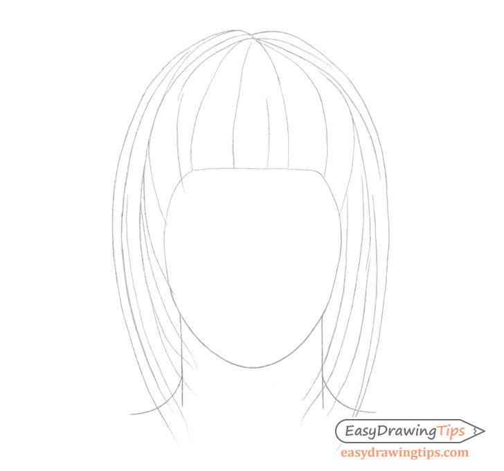 Straight hair details drawing