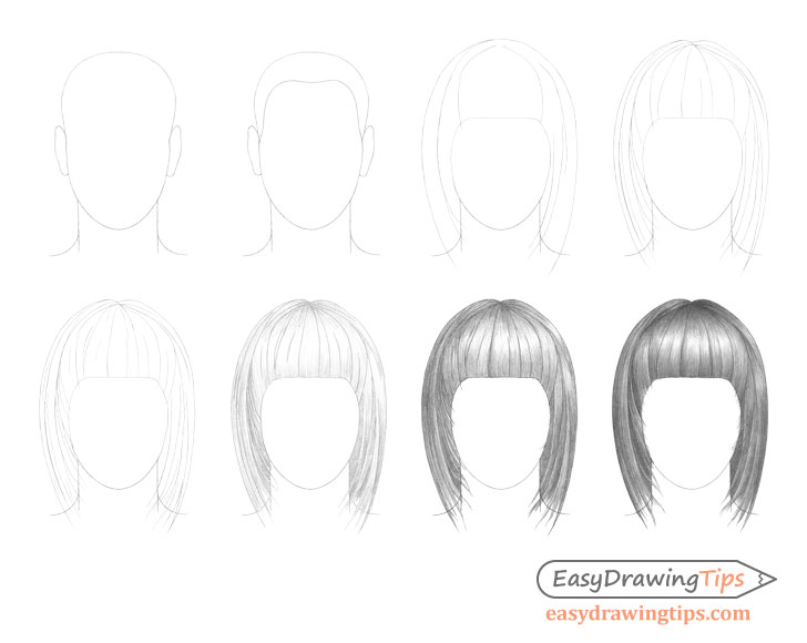 Straight hair drawing step by step