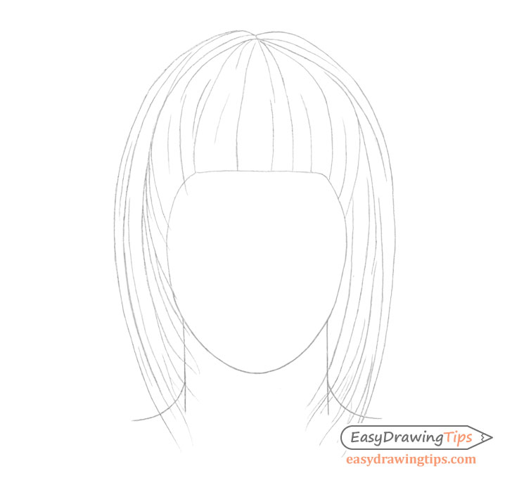 Straight hair line drawing