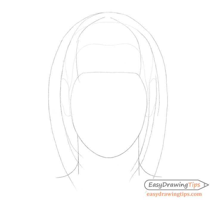 Straight hair on head drawing