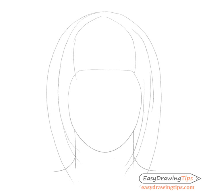 Straight hair outline drawing