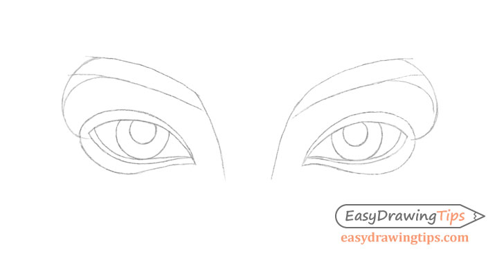 Inner angled eyes details drawing