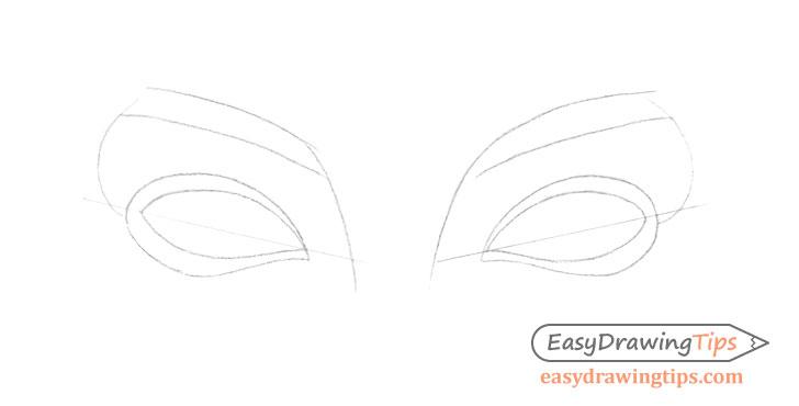 Inner angled eyes eyelids drawing