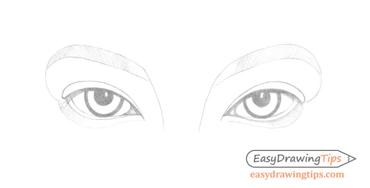 Inner angled eyes initial shading