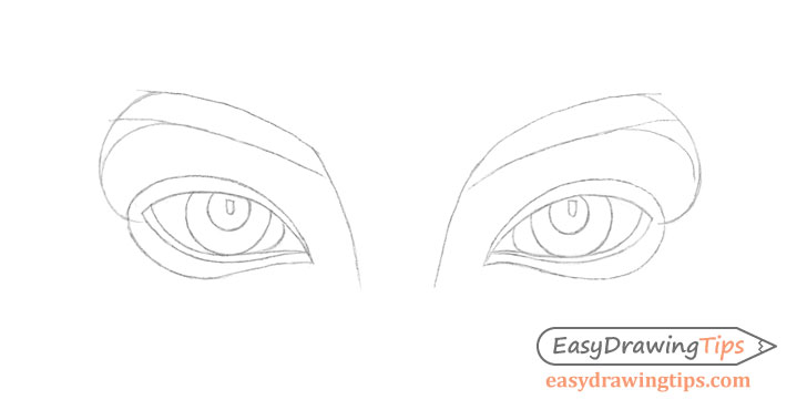 Inner angled eyes line drawing