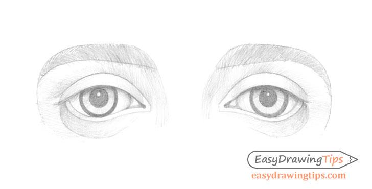 Outer angled eyes basic shading