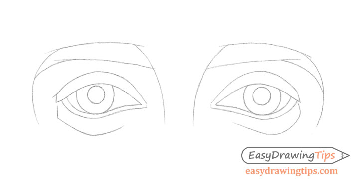 Outer angled eyes details drawing