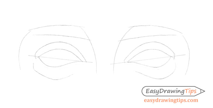 Outer angled eyes eyelids drawing