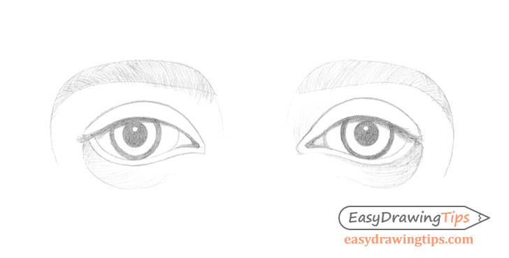 Outer angled eyes initial shading