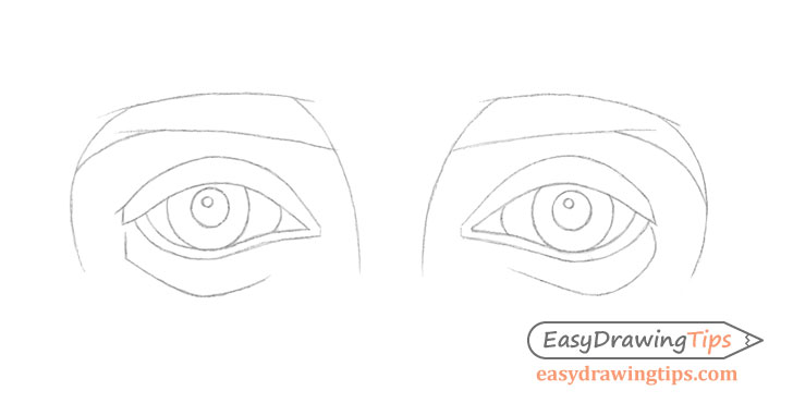 Outer angled eyes line drawing