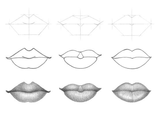 Lips different types drawing tutorial