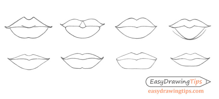 Lips line drawing different types