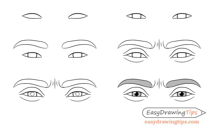 Focused eyes drawing step by step