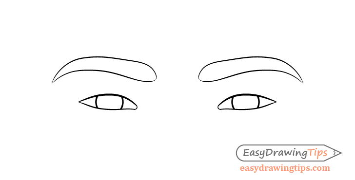 Focused eyes eyebrows drawing