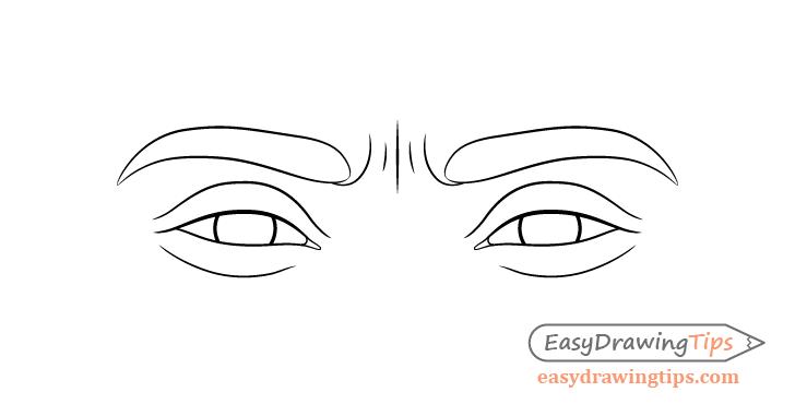 Focused eyes eyelids drawing