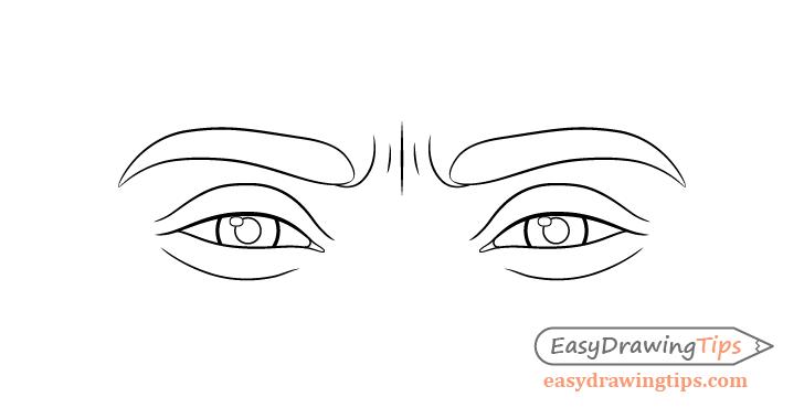 Focused eyes line drawing