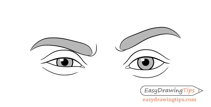One eyebrow raised eyes drawing