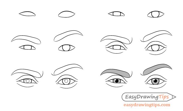One eyebrow raised eyes drawing step by step