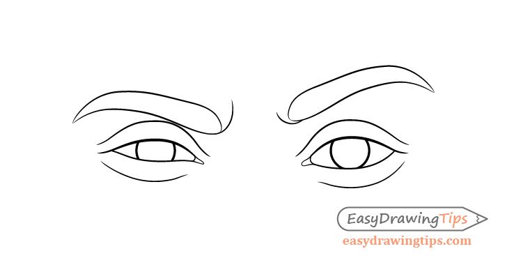 One eyebrow raised eyes eyelids drawing