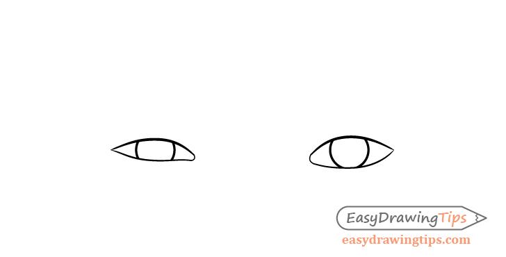One eyebrow raised eyes irises drawing