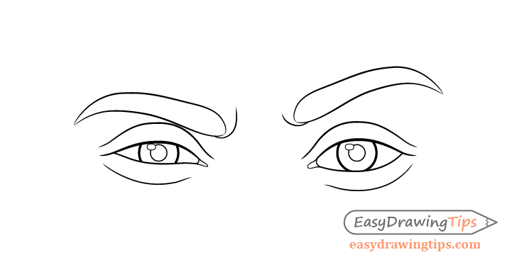 One eyebrow raised eyes line drawing
