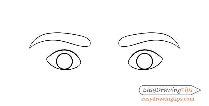 Scared eyes eyebrows drawing