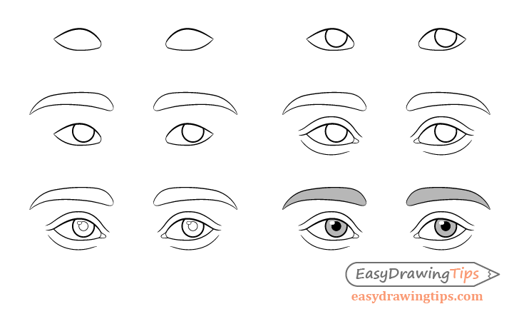 Thinking eyes drawing step by step