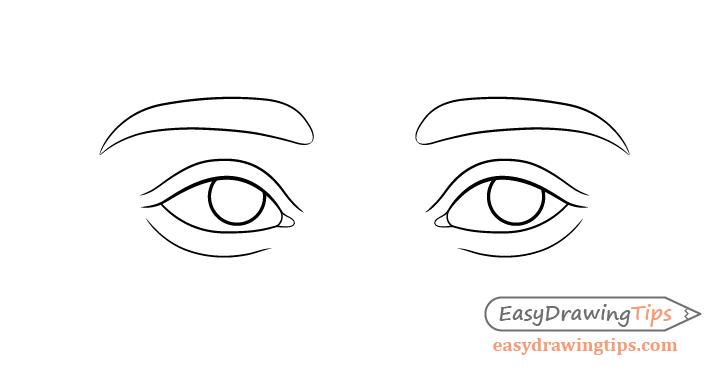 Thinking eyes eyelids drawing