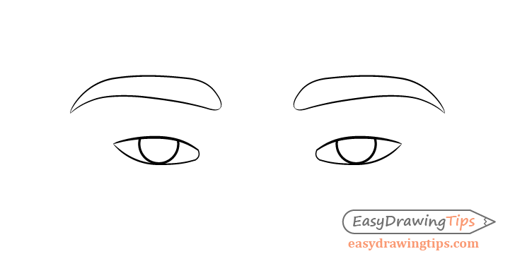 Tired eyes eyebrows drawing