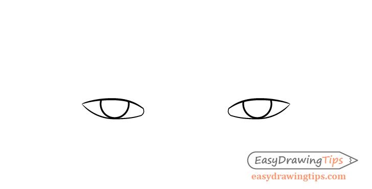 Tired eyes irises drawing