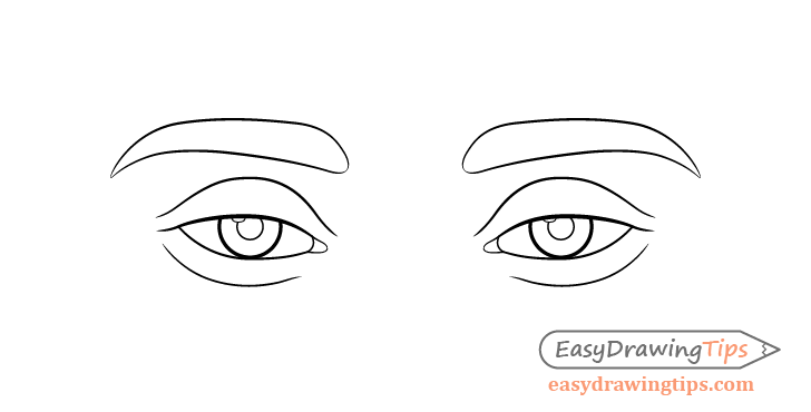 Tired eyes line drawing