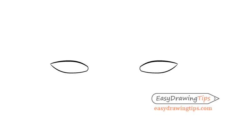 Tired eyes outline drawing
