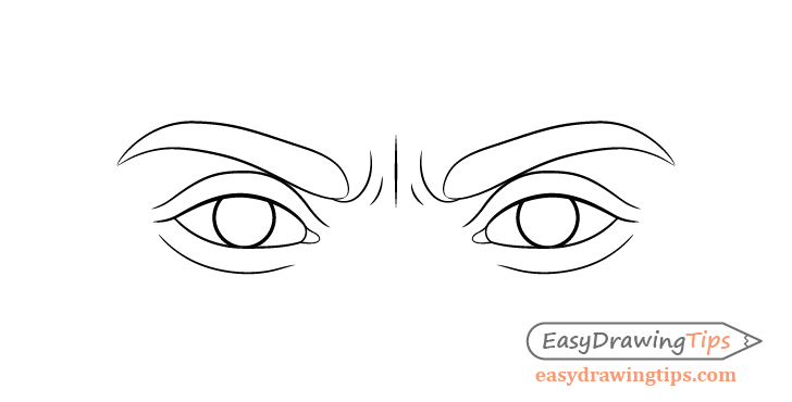 Angry eyes eyelids drawing