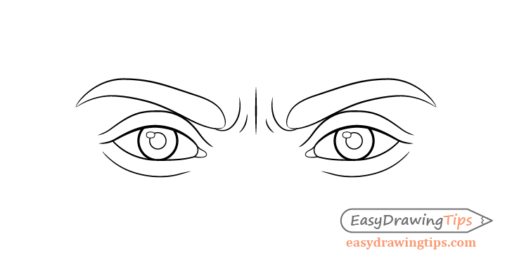 Angry eyes line drawing