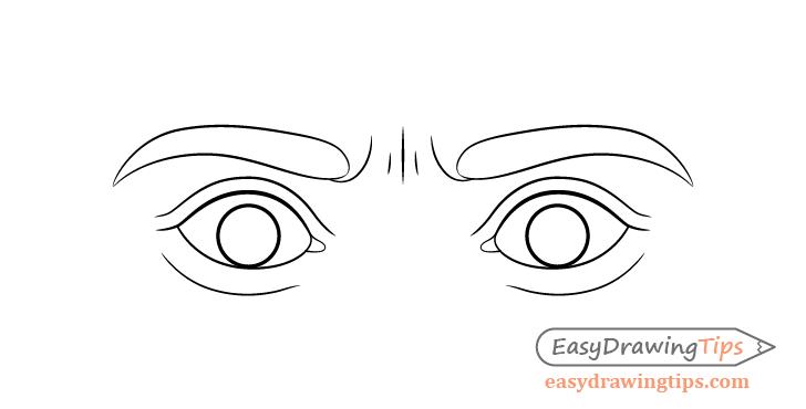 Scared eyes eyelids drawing