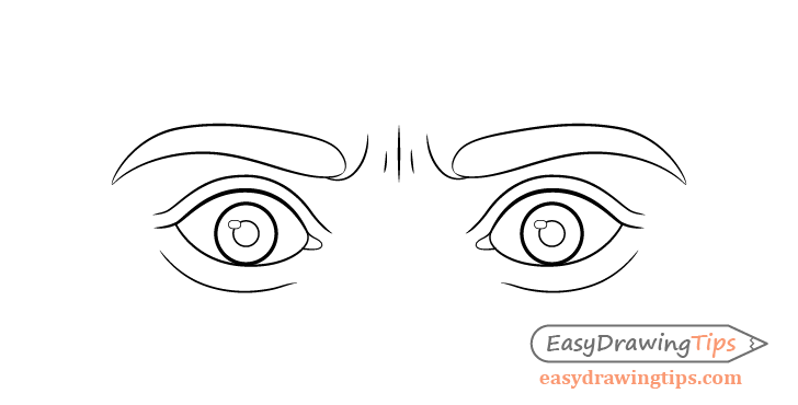 Scared eyes line drawing