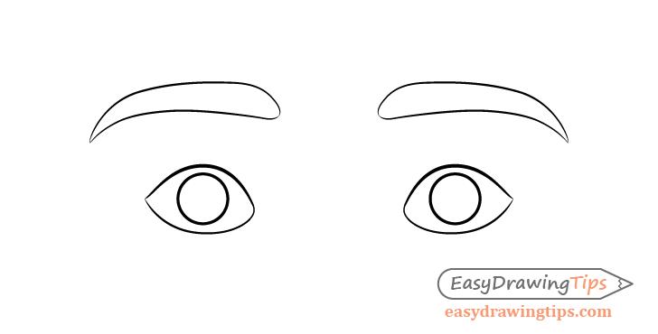 Surprised eyes eyebrows drawing