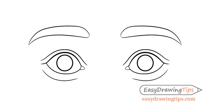 Surprised eyes eyelids drawing